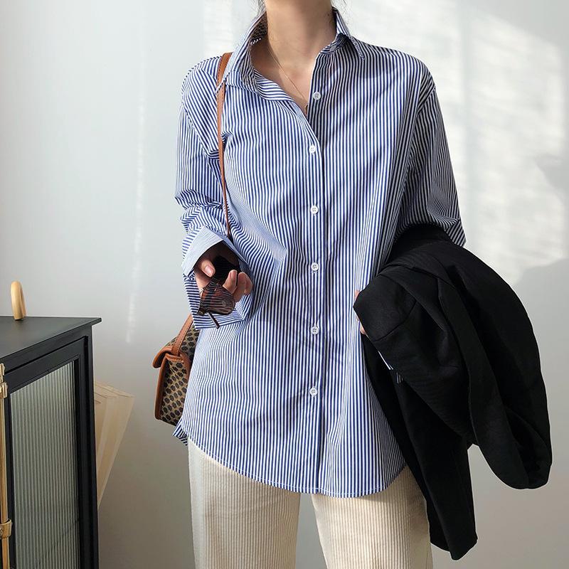 Sherhure 2020 Neue Frauen Sommer Baumwolle Blusen Chic Blau Weiß Gestreiften Frauen Tops und Blusen Hemd Blusas ROUPA Feminina F1211