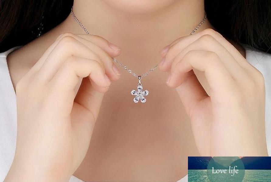 100% 925 Ayar Gümüş Yüksek Kalite Moda Parlak Kristal Erik Çiçek Bayanlar Unman Kolye Kadınlar Kısa Kutusu Zincir Takı