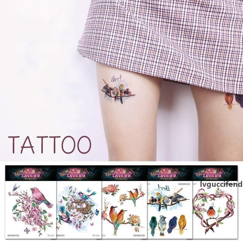 Mit Blumen und Vögel Tattoo-Aufkleber DIY Wasserdicht Wassertransfer Temporary Art Tattoo leicht zu reinigen Outerdoor Party-Geburtstags-Körper-Arm-Dekor
