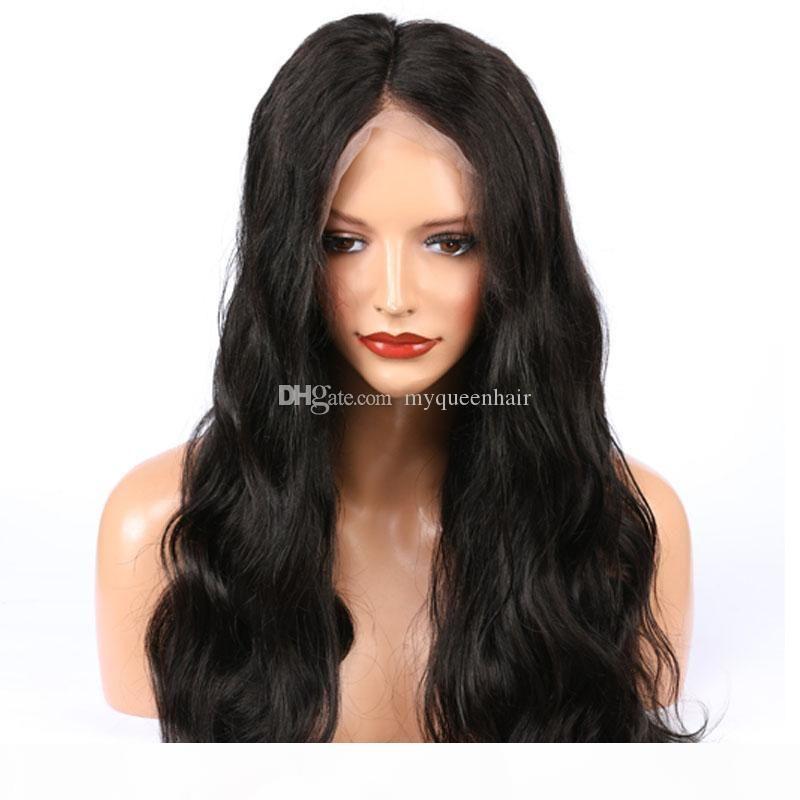 Minha rainha Peruana Virgem HD Lace Human Wigs Longa Onda Natural Cabelo Brasileiro 150% Densidade Com Cabelo Bebê para Mulheres Negras