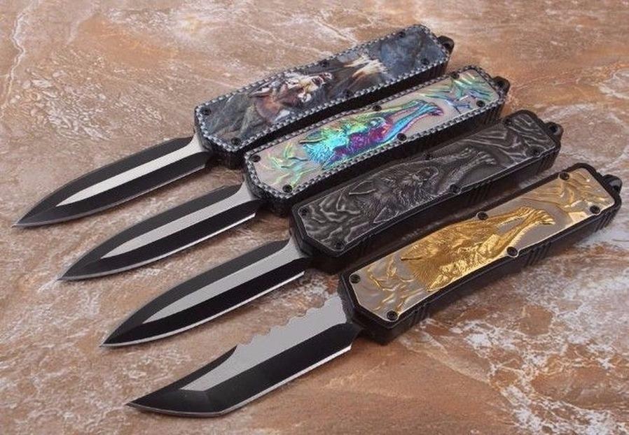 Combat Wolf Totem 4 modelli Doppia azione Caccia Automatica Auto Pocket Knife Pieghevole Pieghevole Blade Fixed Blade Collection Coltelli Xmas Regalo