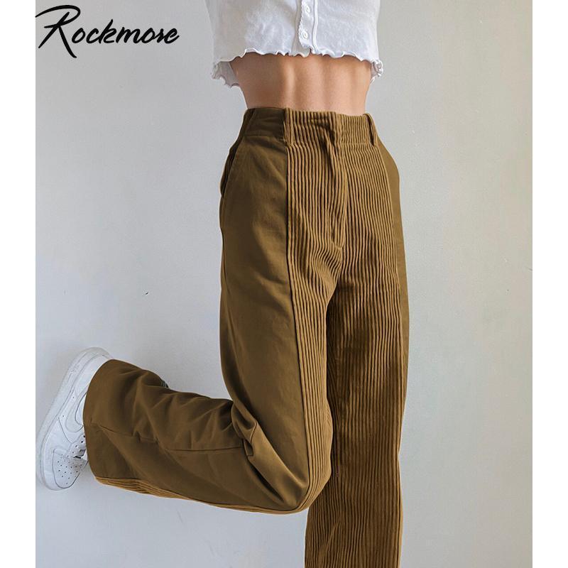ROCKMORE CORDUROYY Patchwork Baggy Large jambe Pantalons Joggers Pantalons droits Femme Marron Vintage Y2K E Fille Esthétique Streetwear