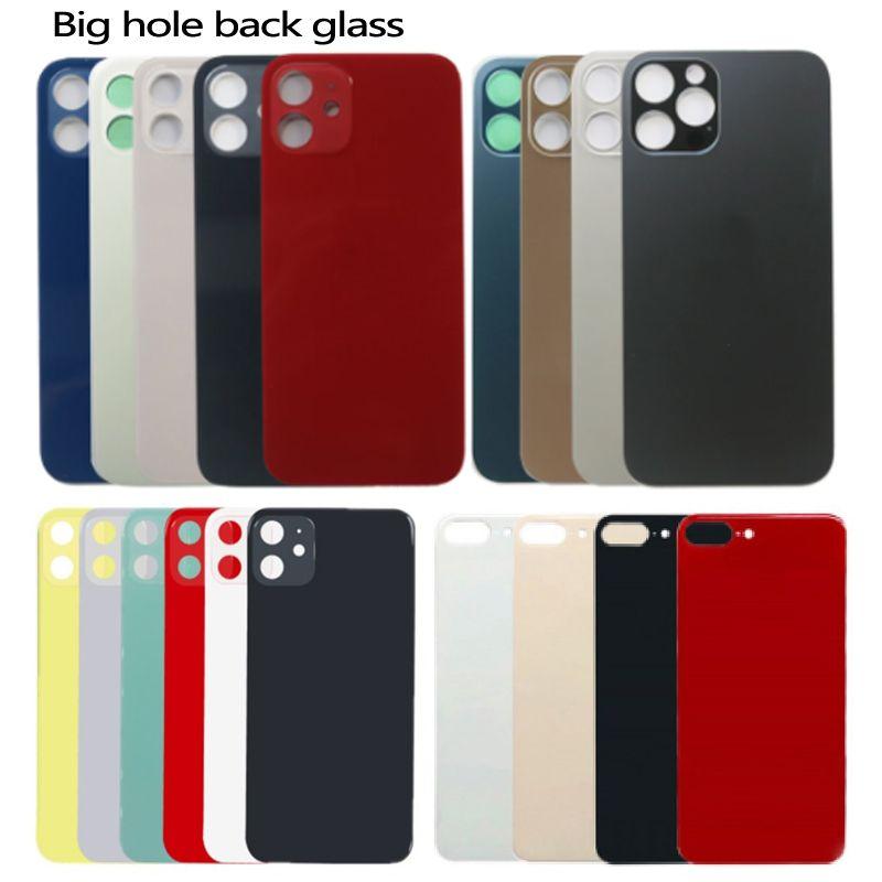 Für iPhone 12 11 8 8 plus x xs max Batterieglas Backglas Ersatz Back Cover Gehäuse Große Lochkamera mit Aufklebern