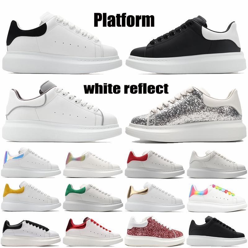 أعلى جودة منصة عاكسة الرجال النساء عارضة الأحذية الثلاثي الأبيض تعكس الأسود متعدد الألوان العميق الأزرق الليزر الفضة الترتر رجل أحذية رياضية