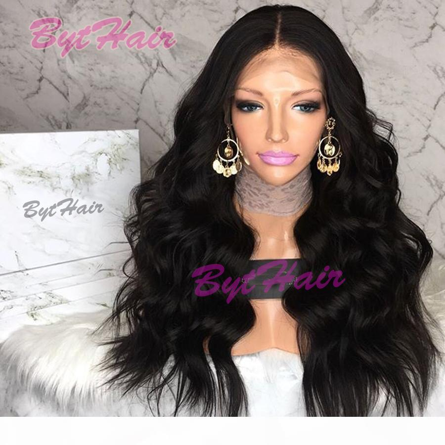 Bythair Glueless Peruvian Wavy Full Lace Human Hair Wigs With Baby Hair Natural Color Long Remy Hair Lace Front Wig For Black Women