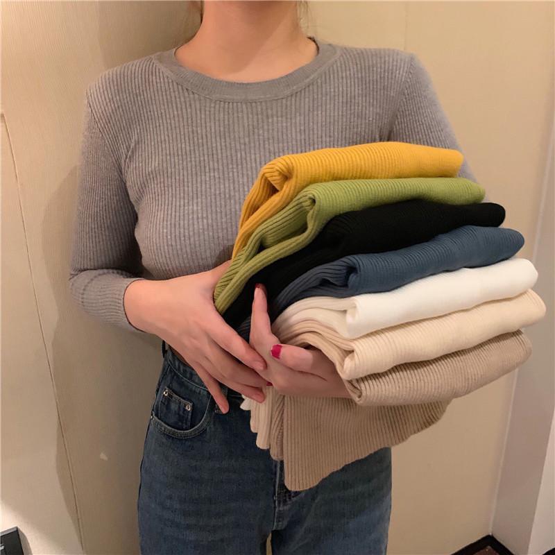 Женские свитера 2021 весна осень осень базовая рубашка с длинным рукавом моды моды пуловеры женские круглые шеи повседневные соревнованные топы свитера