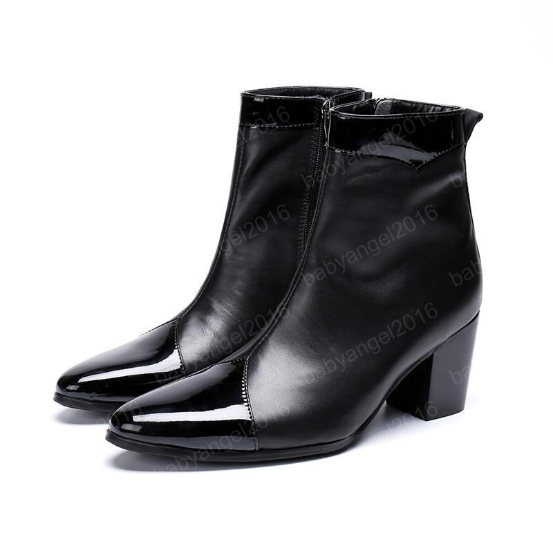 Simplicity Männer Schuhe Solide Echtes Lederstiefel Neue Mode Gezitzelte Zehe Stiefel Große Größe Reißverschluss Ankle Boots