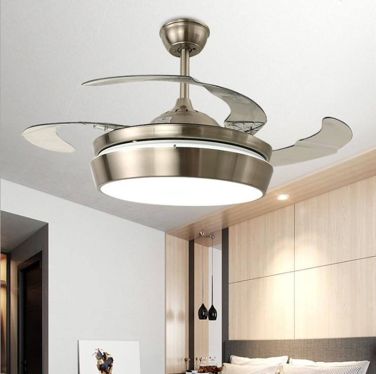 Modern Led Ceiling fans with light Silver color fan lamps 42 inch reomote control Luminaria for living room bedroom in Summer