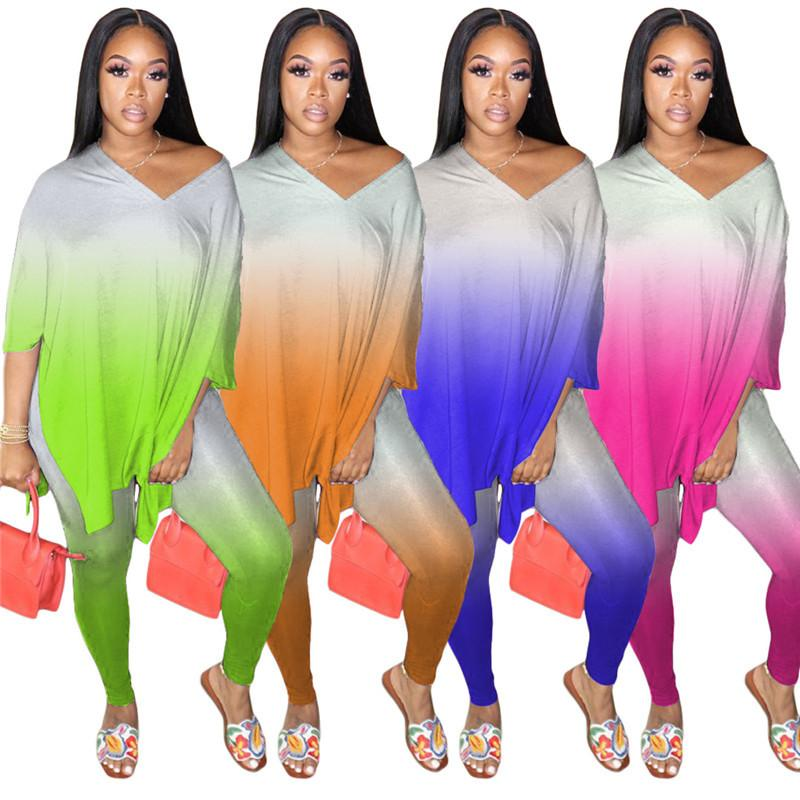 Women Two-piece Sets Tye Dye Outfits Long Sleeve Printed Loose Top and Tight Pants Casual Maching Wholesale Dropshpping F1216