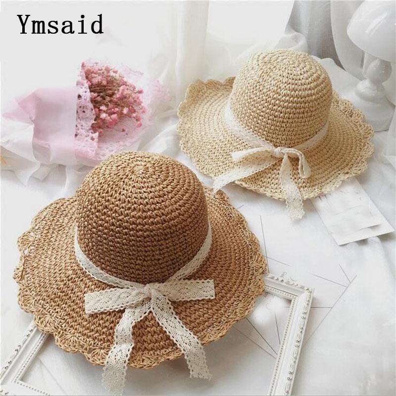 Широкие шляпы Breim шляпы кружева лук летняя шляпа 2021 солнцезащитная солома для женщин пляжная кепка Панама девушки досуг женские1