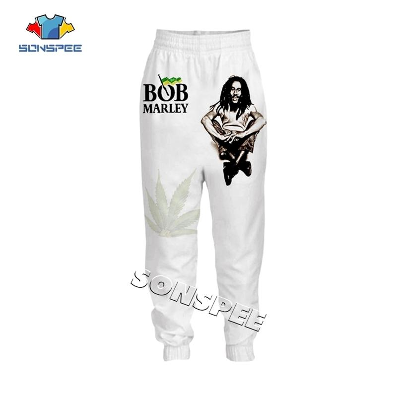 SONSPEE Singer Bob Marley 3D impreso Harajuku Hombres Sweetpants Unisex Long Pant Streetwear Hip Hop Novelty Moda Pantalones casuales Y201123