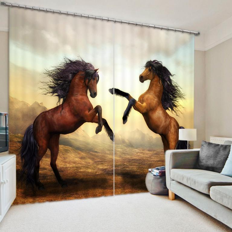 Blackout Black Horse Luxury Cortinas 3D para sala de estar sala de cama Drapes Cotinas Para Sala para Hotel Casa Decorativo.