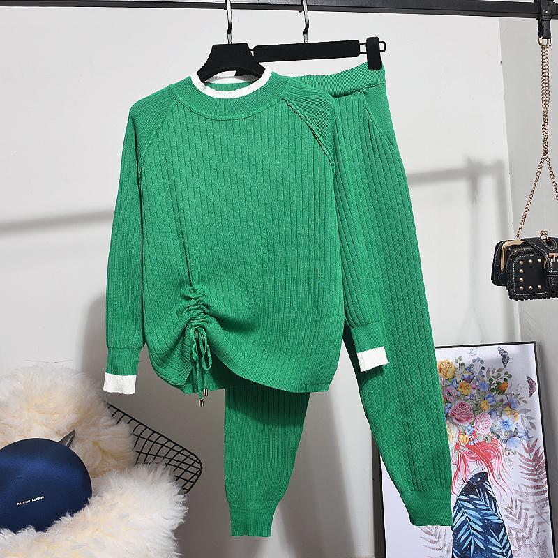 Sonbahar Kış YENI 2 Parça Set Kadın Moda Kontrast Renk Uzun Kollu Örgü Kazak Tops + Küçük Ayaklar Pantolon Kadın Örme Setleri F1216