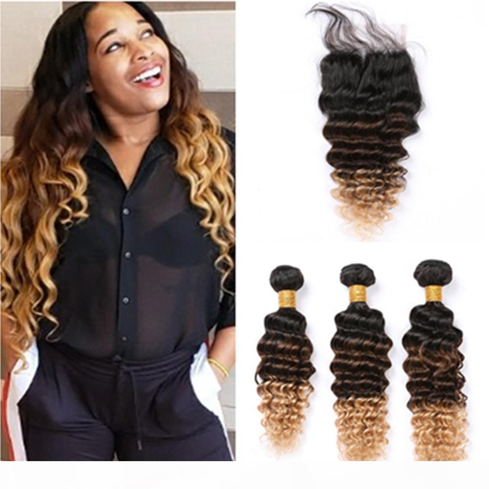 #1B 4 27 Ombre Deep Wave Human Hair Bundles with Closure Black Brown to Honey Blonde Ombre Peruvian Hair Weaves with Lace Closure