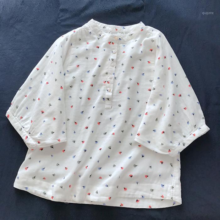 Japanische Stil Baumwollgarn Bluse Kleines Hemd Bunte Blume Druck Delicate Pastoral Stil Bat Sleeve Shirt Damen1