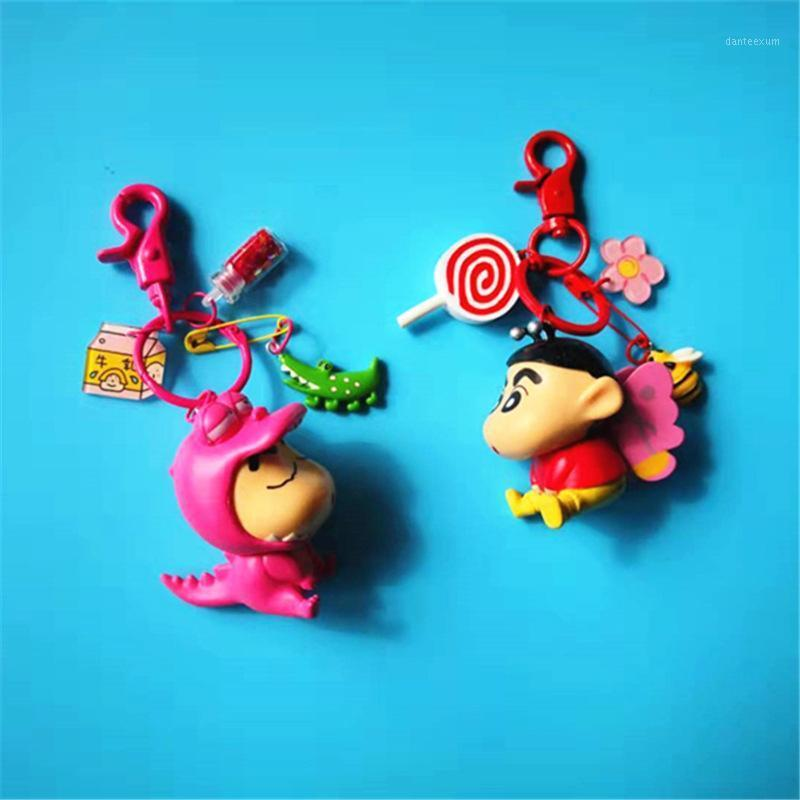키 체인 크레용 신 찬 애니메이션 PVC 그림 열쇠 고리 귀여운 장난감 열쇠 고리 생일 선물 유니섹스 rings1