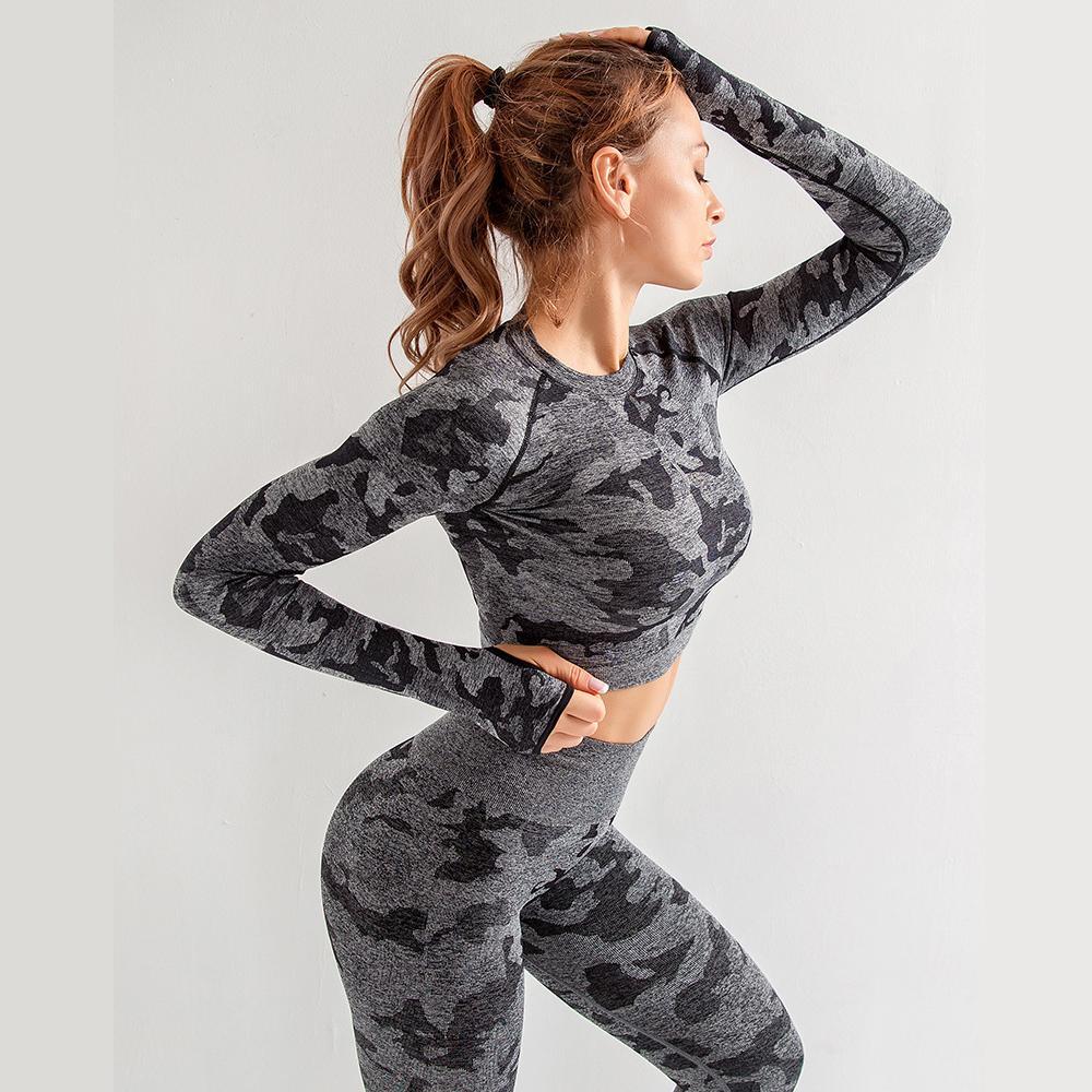 Yoga Yoga Sans couture Yoga 3PC Set Camouflage Top Bra à manches longues Chemise de Yoga Femme Sport Sport High Taille Pant Pantalon Femme
