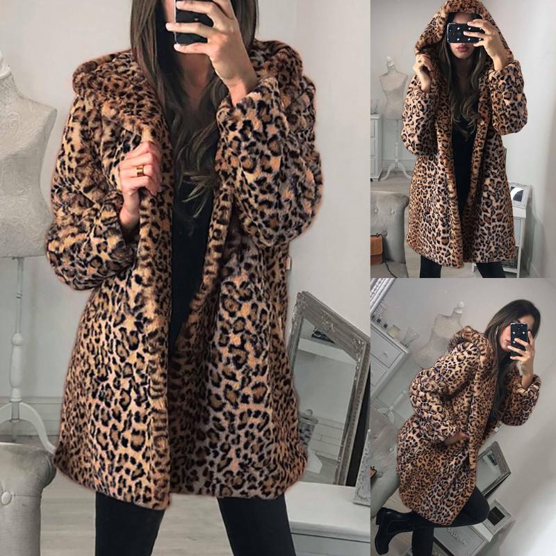 Kadın Kürk Faux Bayan Bayanlar Sıcak Ceket Ceket Leopar Kapşonlu Kış Kadın Palto Peluş Giyim Chaqueta Mujer J60