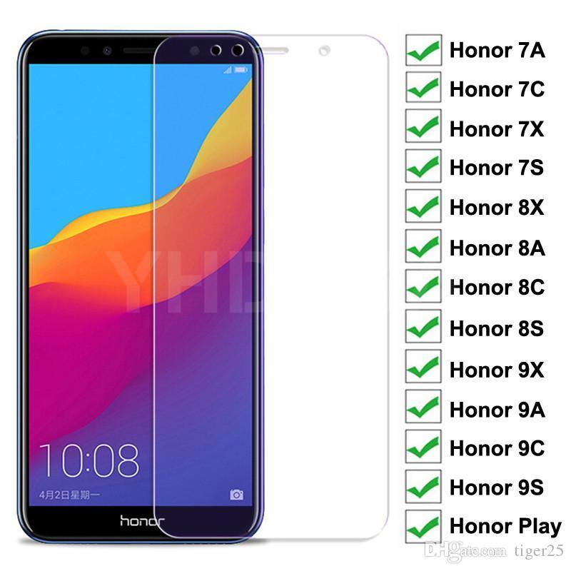 9h Copa completa Vidro protetor para Huawei Honra 8x 8A 8C 8S Vidro Temperado Honra 7A 7C 7X 7S 9x 9A 9C 9S Play Screen Protector