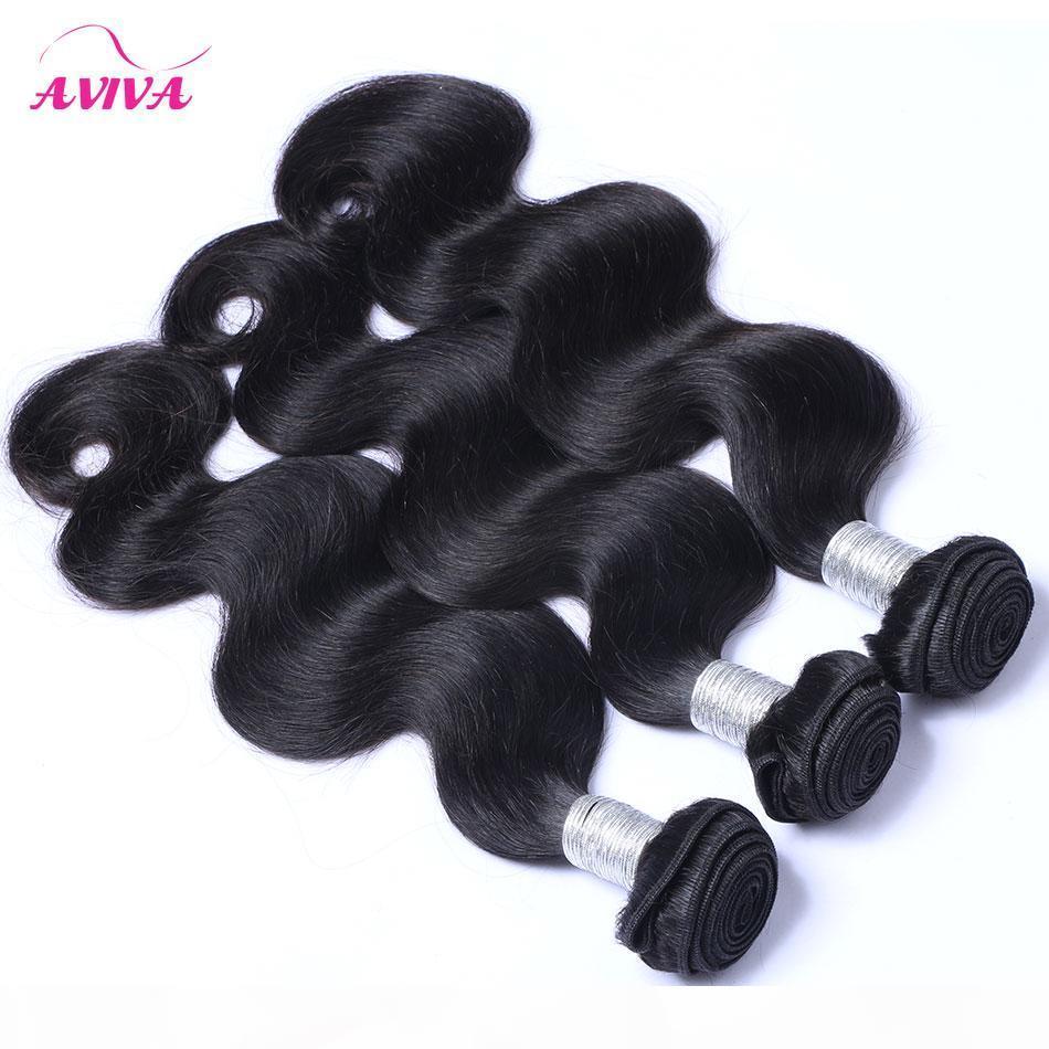 Brasiliani Body Wave Virgin Remy Human Hair Extensions Capelli per capelli non trasformati Vigin Brazilian Body Wavy Human Hair Capelli Tessuti Bundles 3 4 PZ Lotto Doppia WeFts