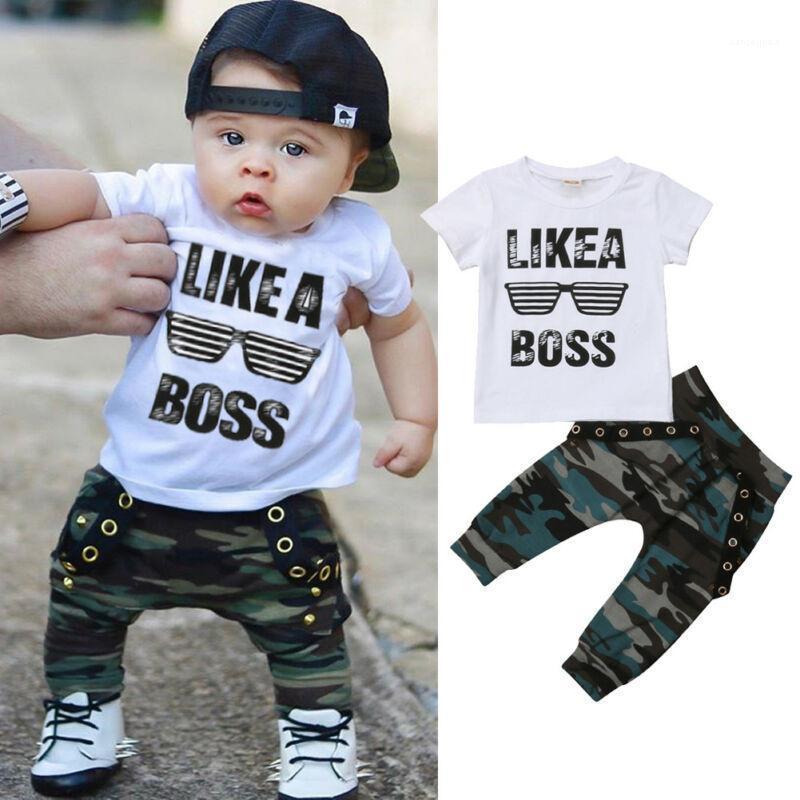 0-3Y Newborn Infantil Niño Niño Bebé Ropa Set Niños Muchachos Linda Manga Corta Camiseta Top + Pantalones Trajes Ropa Set1