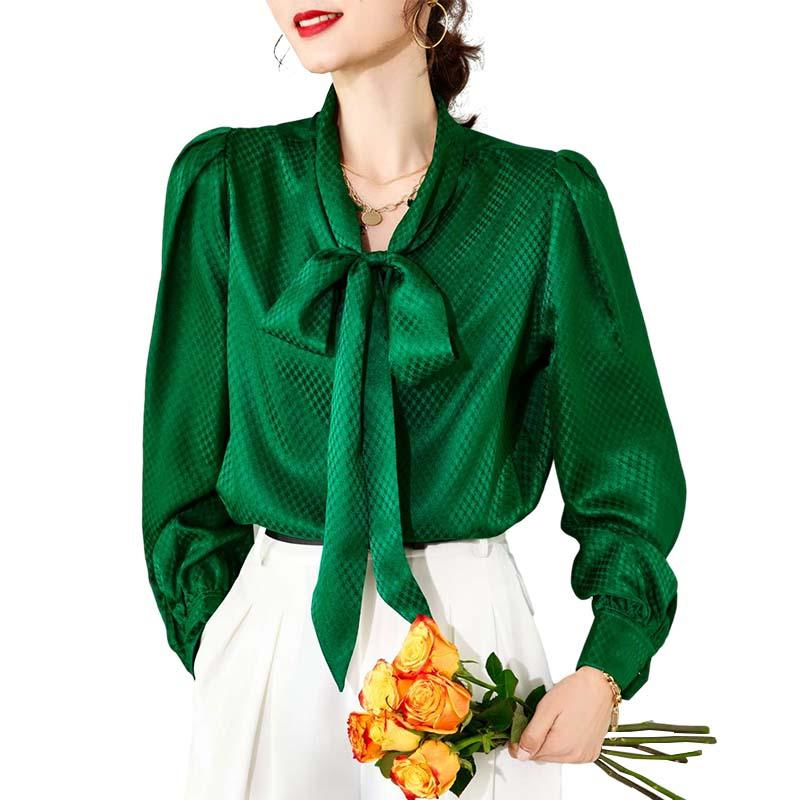 Chemise pour femmes 100% Silk dentelle Up Collier à manches longues Blouse Dobby Blouse élégant Jacquard Camisa Tops