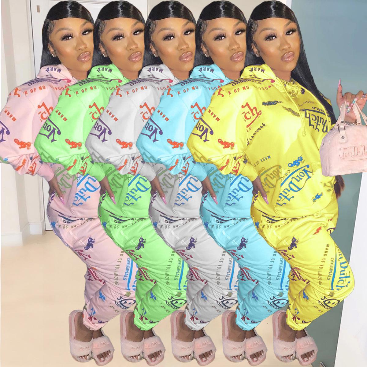 Mujeres S diseñadores de ropa Trajes de 2 piezas Conjunto Invierno manera de la letra con capucha chándales de deporte de manga larga pantalones jogging nueva manera