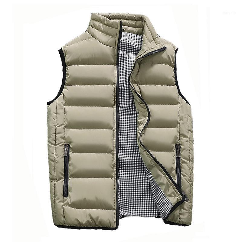 MANTLCONX Fashion Vest Men Zipper Mens Jacket Sleeveless Casual Winter Waistcoat Solid Cotton-Padded Men's Vest Plus Size 5XL1