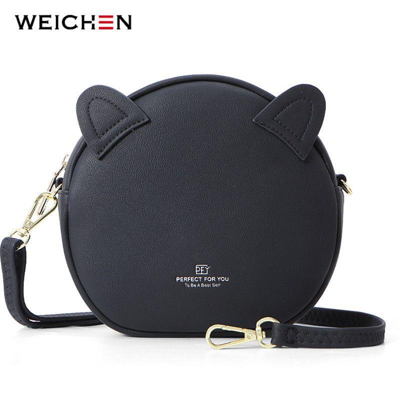 Weichen nueva ronda Bolsas para mujeres 2020 Diseñador linda del oído de la forma circular del hombro de Crossbody de la bolsa de mensajero Mujer Bolsos de las señoras Q1118