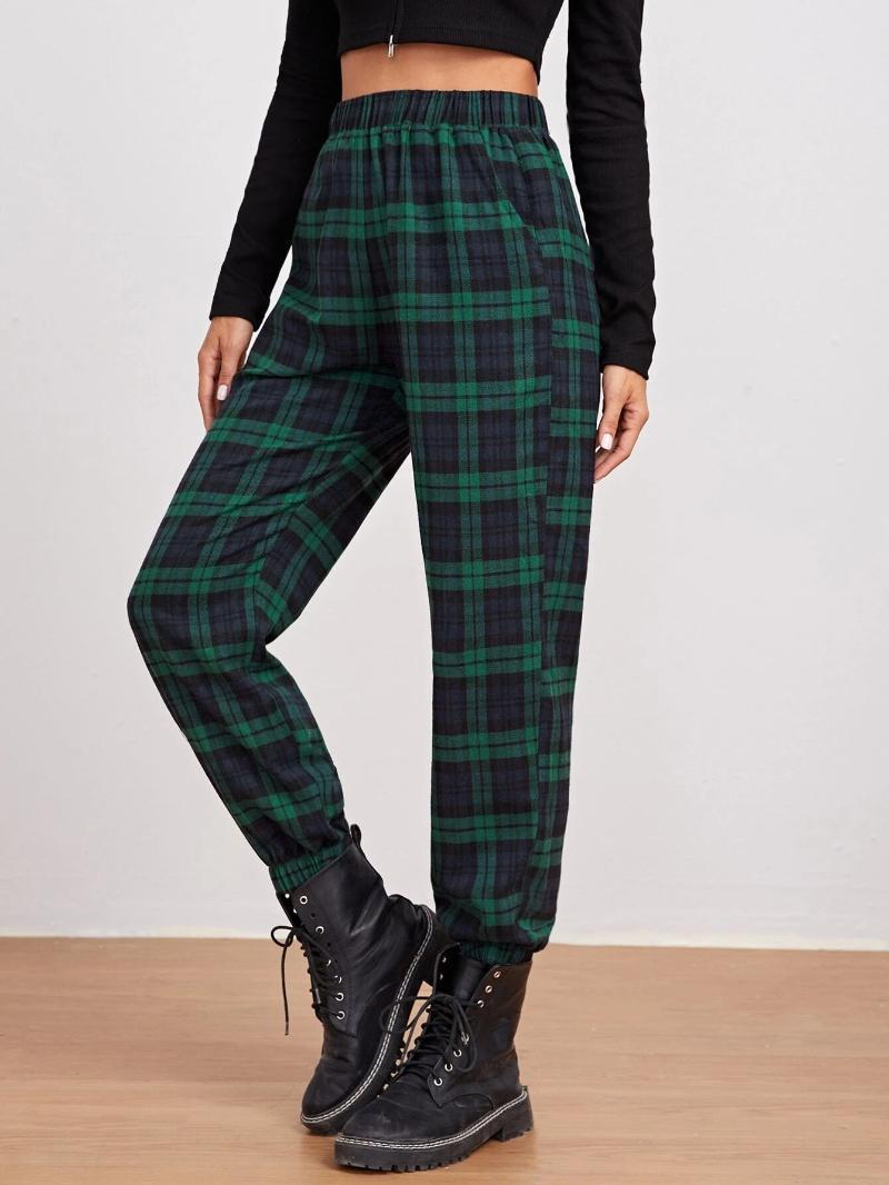 Kadın Pantolon Capris Kadınlar Rahat Ekose Pantolon, Elastik Bel Renk Blok Ayak Bileği Uzunluğu Sweatpants Spor Uzun