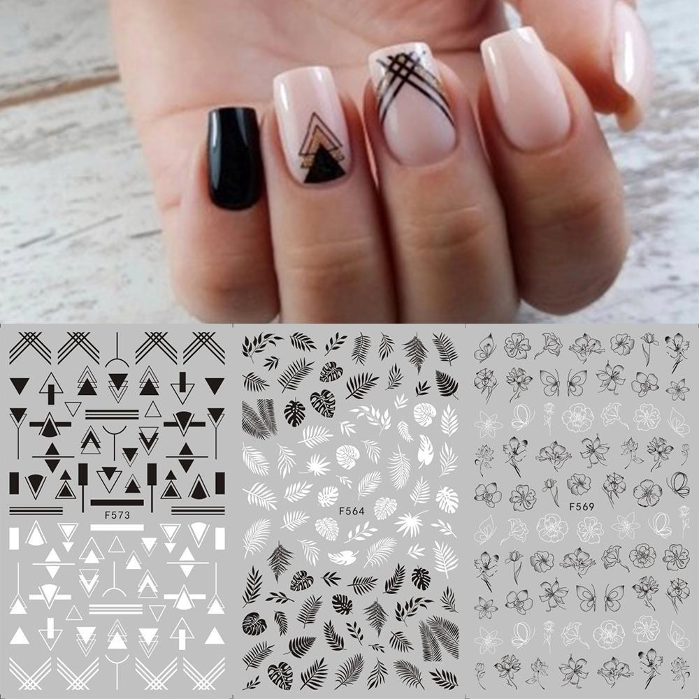 1 foglio nero bianco fiore nail sticker mandala tropicale foglia tropicale 3d nail adesivo geometria adesiva chiodi decalcomanie per unghie foglio design f564-573