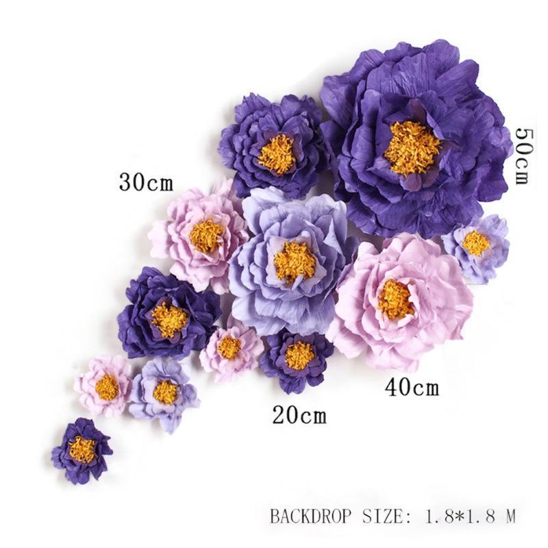 عملاق محاكاة الكرتون كريب الورق روز الزهور معرض الخلفيات الزفاف الدعائم فلوريس الاصطناعية الفقرة ديكورا O 7 خيارات
