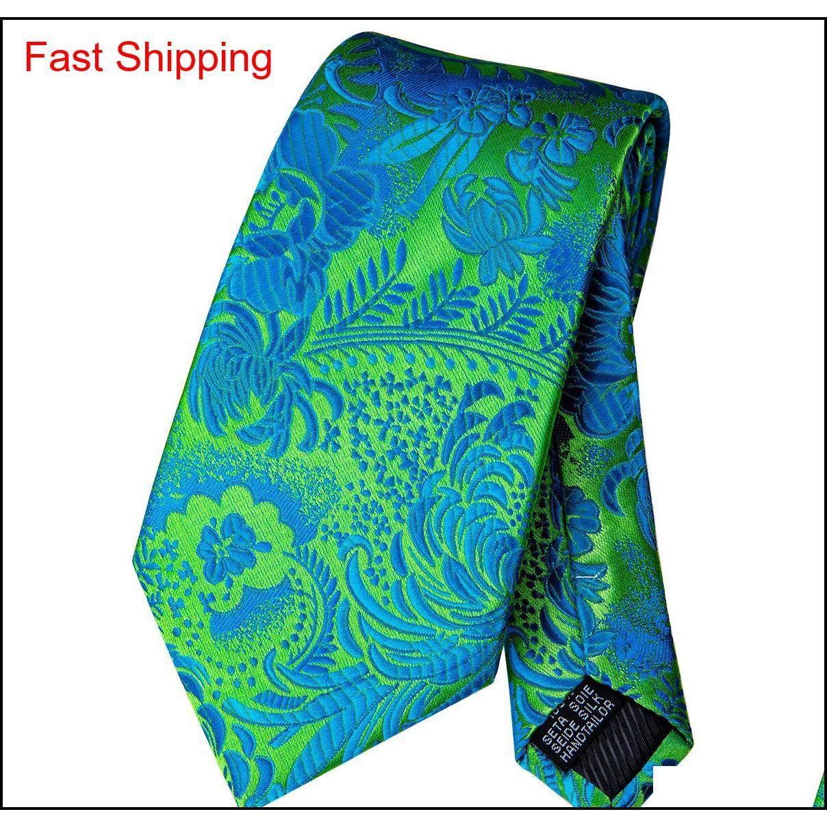 Hızlı Kargo Çiçek Kravat Yeşil Bule Hanky Kol Düğmeleri Setleri Erkekler Için Erkekler 100% Ipek Kravatlar Örgün Düğün Qyliln Homes2007