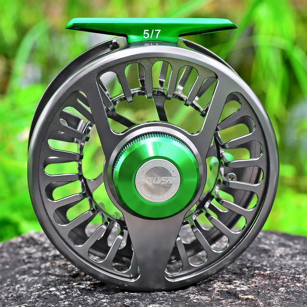 Proberos Aluminio 3 + 1 BB Mosca Rueda de Pesca Verde Arma Color Mosca Pesca Reel CNC Máquina derecha Manija izquierda Mosca Reel 201126