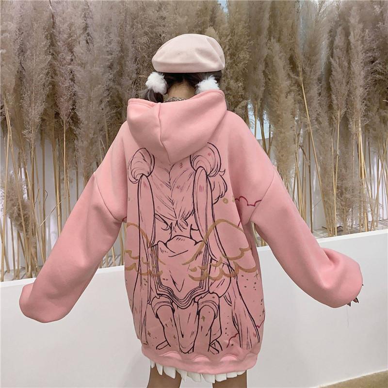 Kawaii Girl Moon Sweatwear Streetwear Sweathear Sweatshirts Tops Pullovers Ulzzang Cartoon Oversize Harajuku Urnhn