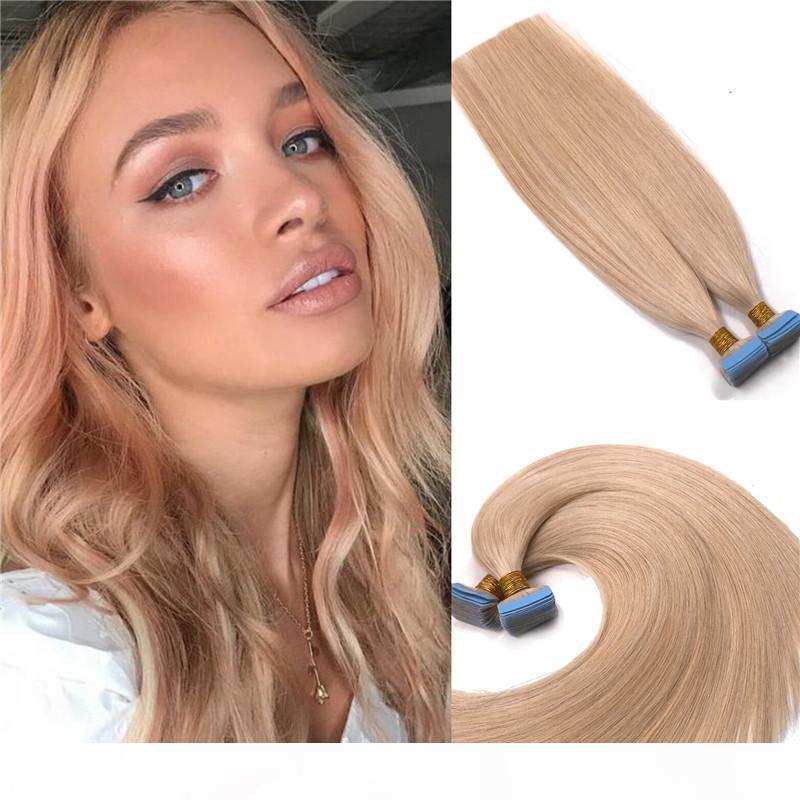 Doble dibujado cinta de cabello humano en extensiones de cabello # 27 Strawberry Blonde Virgin ruso invisiable cinta de trama de la piel en extensiones 40pcs 100 g