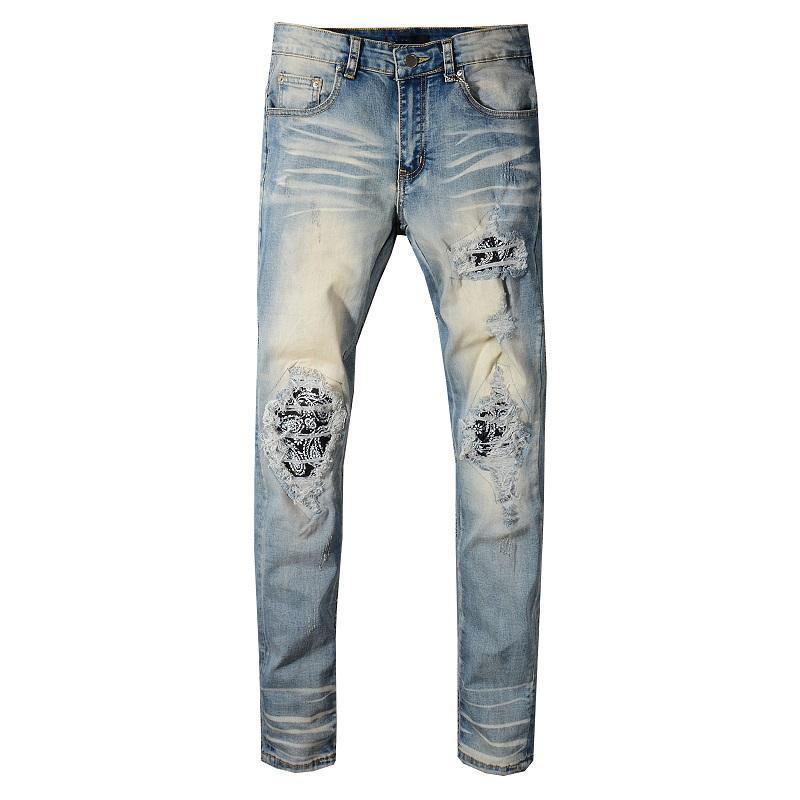 Novas calças de vestuário T-shirt das mulheres de homens Leopard Imprimir Verde Exército Destruído Masculino Slim Denim Perna Direta Motocicleta Jeans Skinny Men268