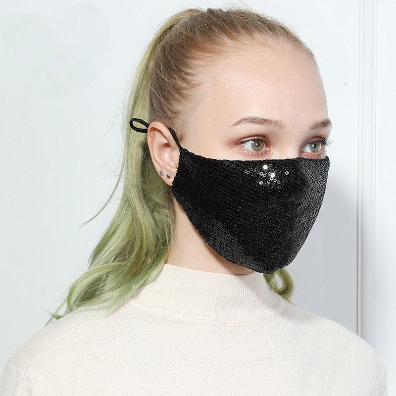7uikreusable paillettes mode glace Silk bling 3D masque lavable PM2.5 Care Shield Sun Couleur Couleur Gold Coude brillant Couvercle de visage brillant masque m