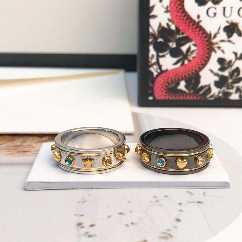 الفاخرة كامل الماس خواتم الفولاذ المقاوم للصدأ روز الذهب زوجين الفرقة خواتم الأزياء الفضة 18K الذهب خواتم للنساء الرجال الجميلة والمجوهرات