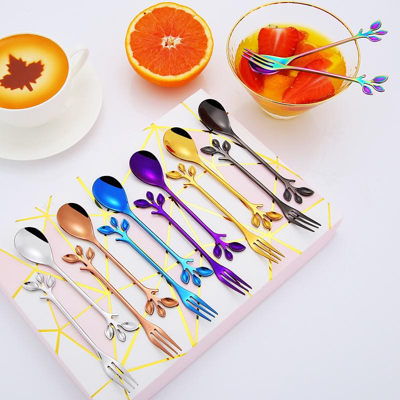 Leaf Branch Coffee Stirring Spoons Colorful Stainless Steel Tree Leaves Fruit Fork Moon Cake Forks Tableware Exquisite Gift Cutlery FFF3882