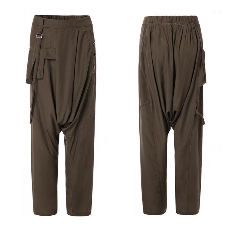 Zanzea Mujeres Elástica Harem Pantalones Pantalones de pierna ancha sólida Pantalones de entrepierna femenina Pantalón suelto Pantalon más Tamaño Casual1