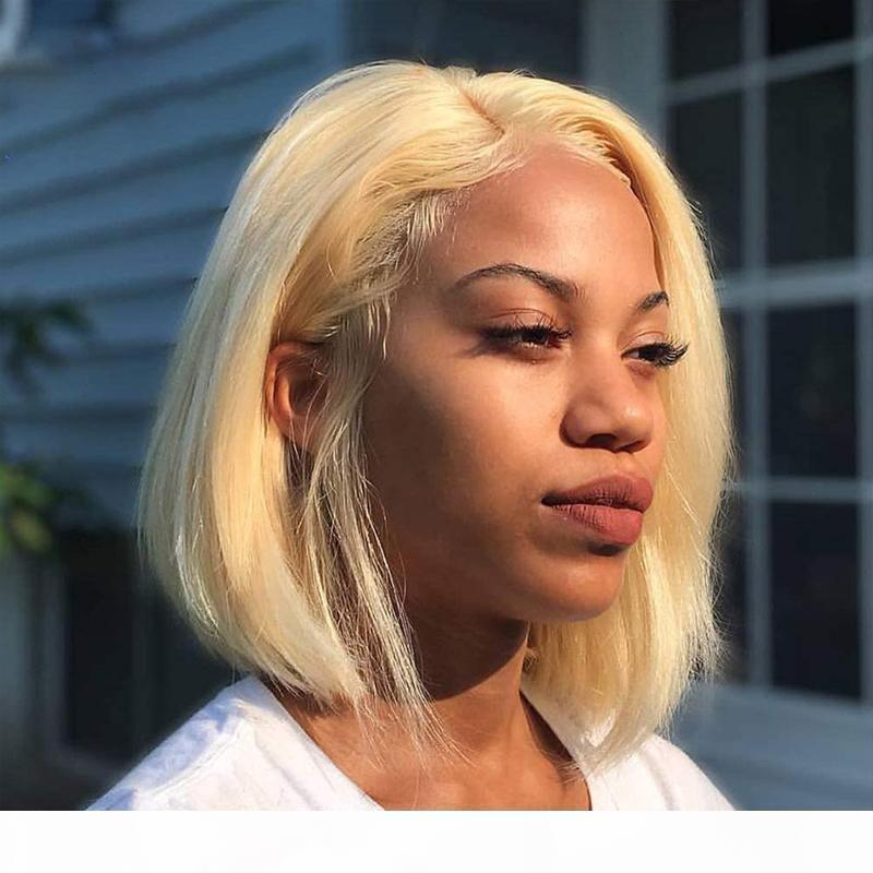 613Lace Front Human Hair Perruques Courts Bob Court Coupe pleine dentelle perruque droite Honey Honey Cheveux humains Preplucked Cheveux de cheveux avec des cheveux bébé pour femmes