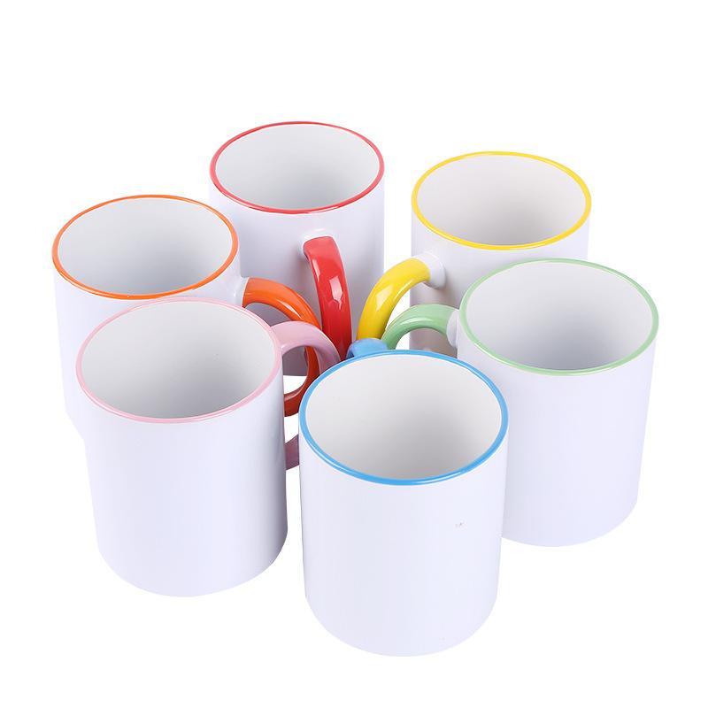 11oz sublimação caneca cerâmica em branco personalidade transferência de calor doméstico copo de água DIY xícaras de café presente