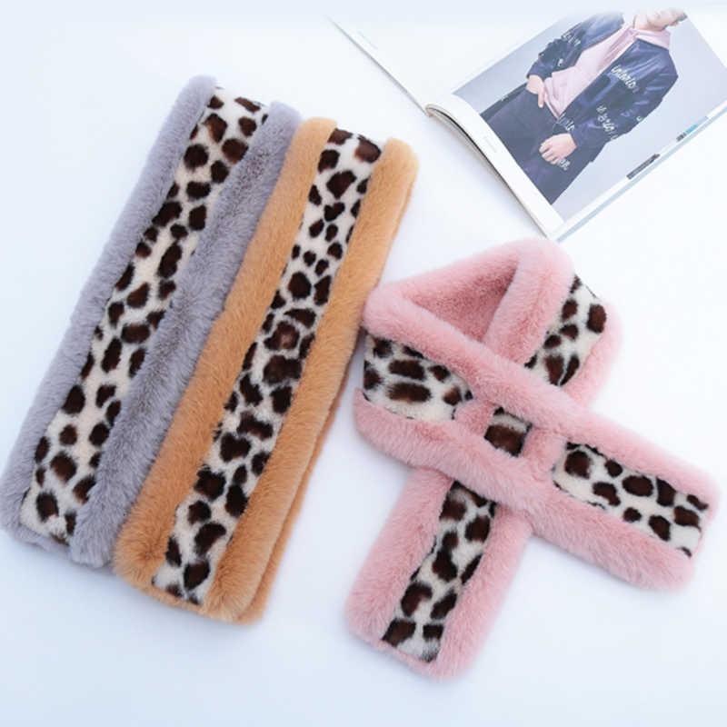 Moda Mulheres Inverno Faux Fur Villus Lenço de Pelúcia Outerwear Leopard Imprimir Soft Confortável Lenços Quentes