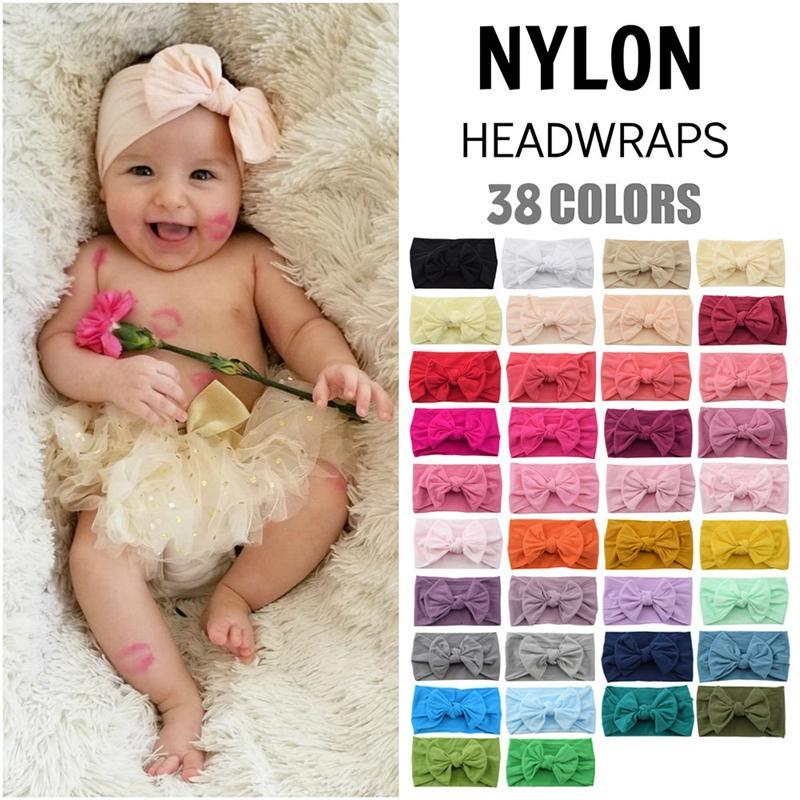 Accessoires de cheveux Bandeau Soft nylon tête nylon bow noeud nœud turban bandes extensieuses enfants wq50 zwl