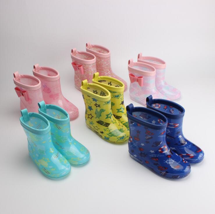 New Bow Bambini per Boy Girls Rain Boots PVC Water Bambini Cartoon Scarpe impermeabili Rainboots