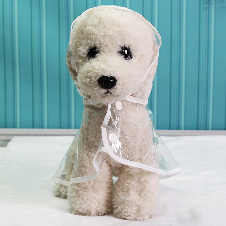 개 레인 코트 테디 강아지 개 애완 동물 방수 의류 재킷 옷 강아지 투명한 비옷 4 색 W-00579