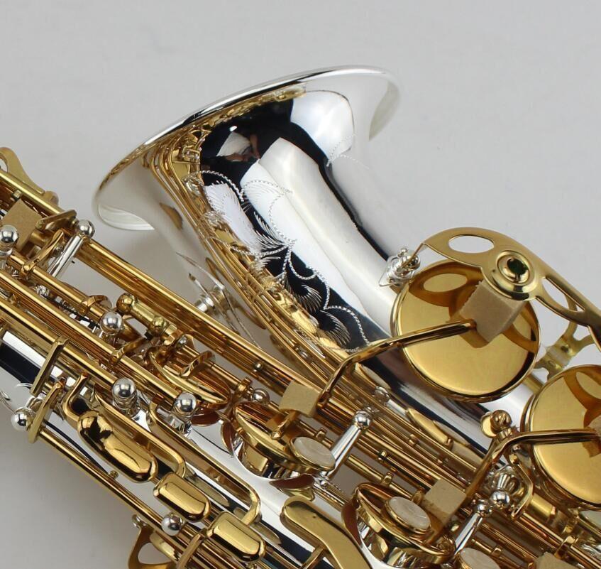 EB Alto ساكسفون الفضة مطلي الجسم والمطلي مطلية بالمظهر المثالي e شقة الآلات الموسيقية المهنية مع القضية