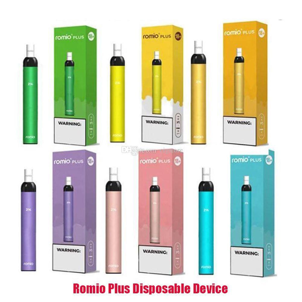 16 couleurs différentes Romio plus stylo de vape jetable Pod Dispositif 500mAh Batterie 3ml Pré-remplissé e Kit de démarrage de cigarette 500+ bouffées
