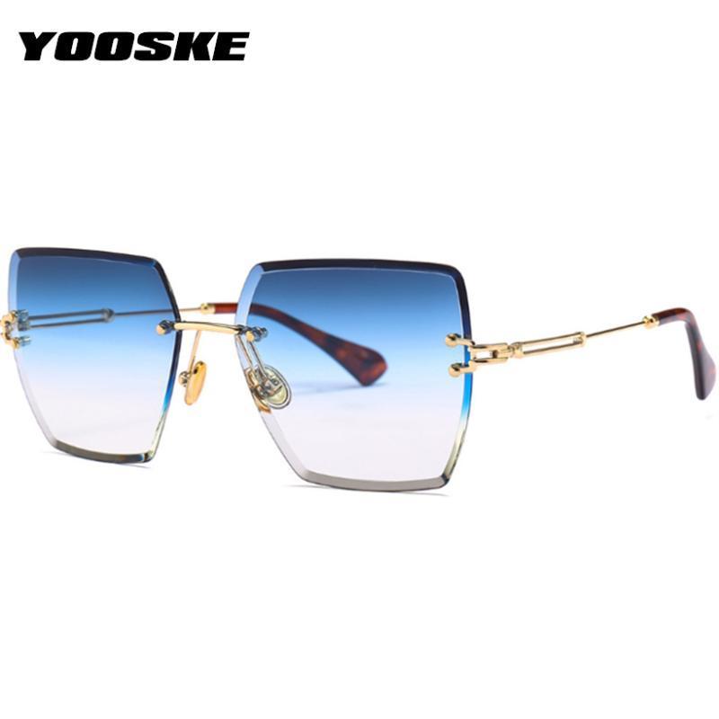 Yooske مربع بدون شفة نظارات المرأة الأزياء قطع عدسة ظلال التدرج نظارات الشمس العلامة التجارية desing النظارات الرجعية uv400